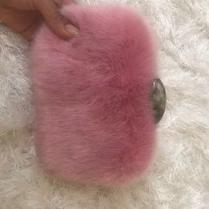 Handbags - Faux fur pink clutch!So cute!